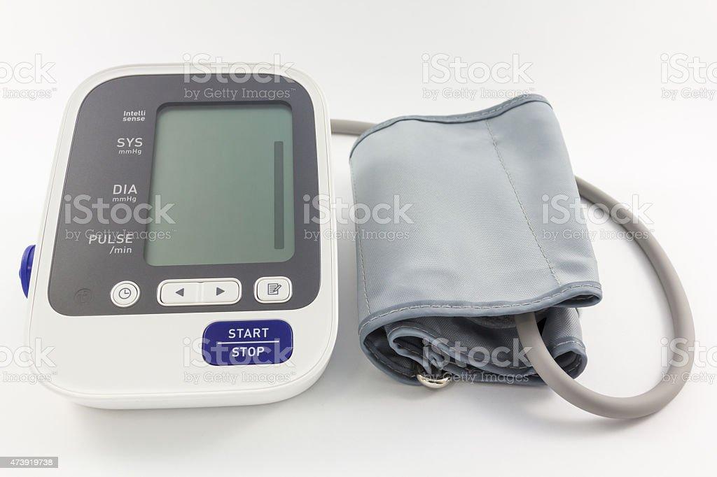 Automatic blood pressure monitor. stock photo