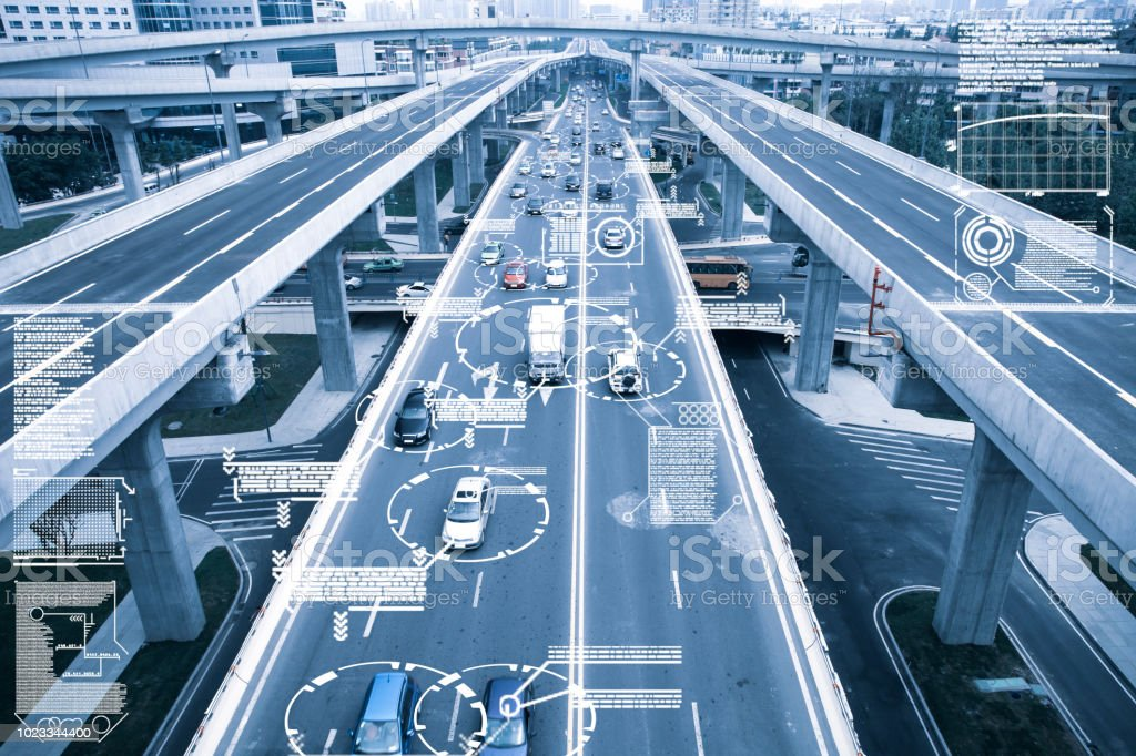 Automatic car city defocused new viaduct stock photo