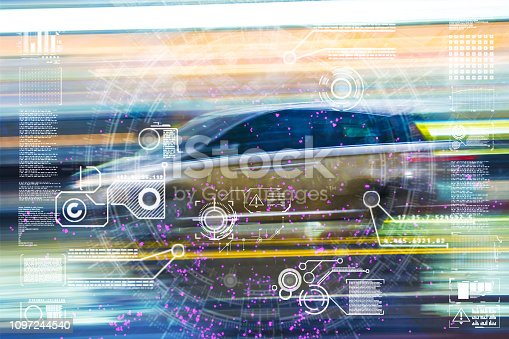 istock Automatic car city defocused new viaduct 1097244540