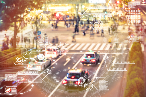 Automatic Car City Defocused Tokyo Japan Stock Photo - Download Image Now