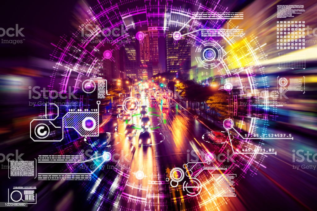 Automatic car city defocused tokyo japan stock photo