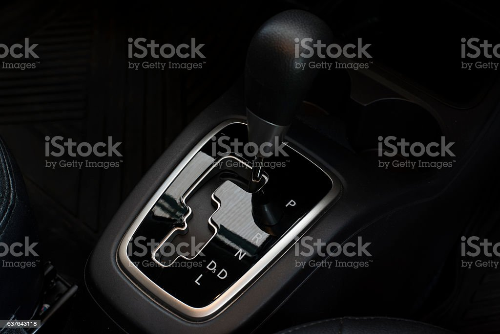 Automatic car gear stick with P R N D system stock photo