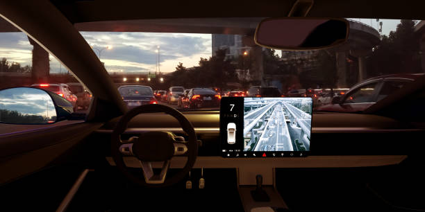 automatic car get catch in the traffic jam - self driving car stock photos and pictures