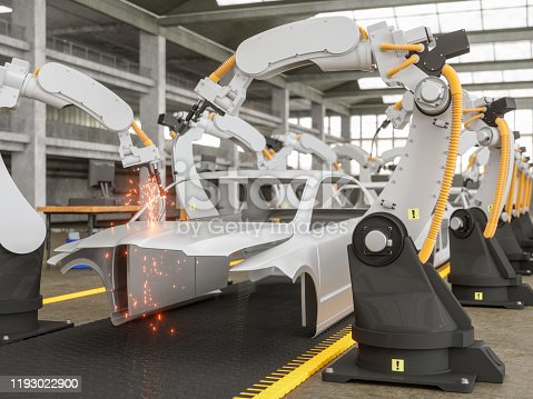114166156 istock photo Automatic Car Production Line With Robotic Arm 1193022900