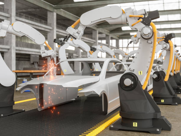 automatic car production line with robotic arm - metal robot in logistic factory foto e immagini stock