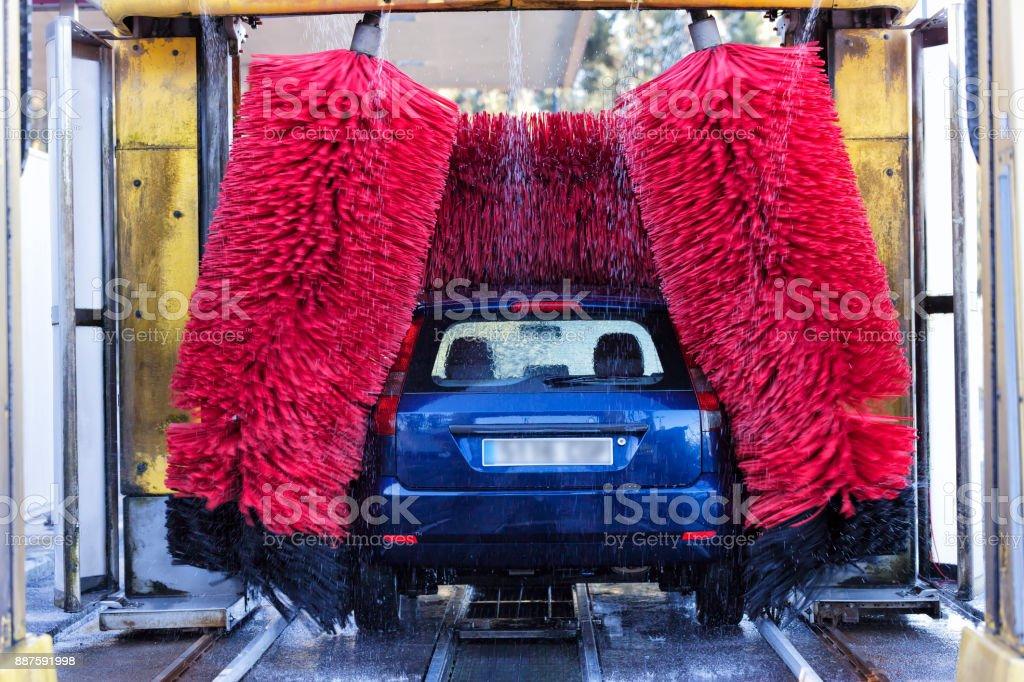 Trabajo de máquina de lavado de coche automático - foto de stock