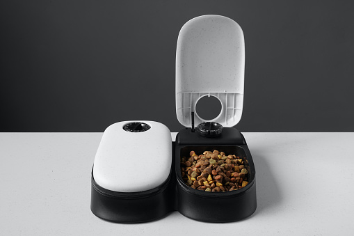 automatic cat food dispenser or pet feeder