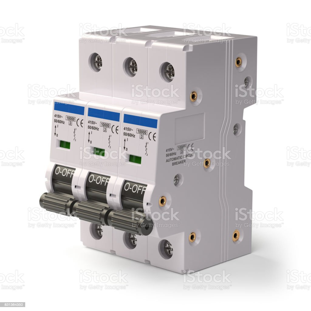 Automatic circuit breaker isolated on white background stock photo