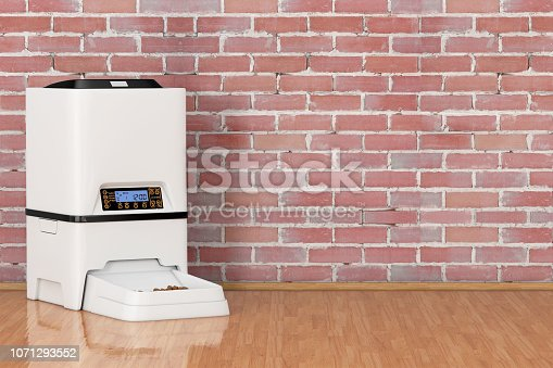 Automatic Electronic Digital Pet Dry Food Storage Meal Feeder Dispenser in front of brick wall. 3d Rendering