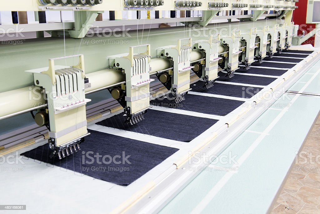 Automatic Embroidery Machine in Textile Factory royalty-free stock photo