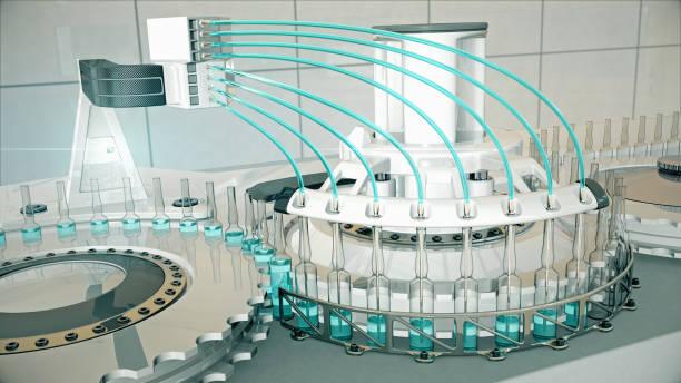 백신 및 의약품 3d로 바이알을 채우기 위한 자동 공장 기계 - 앰풀 뉴스 사진 이미지