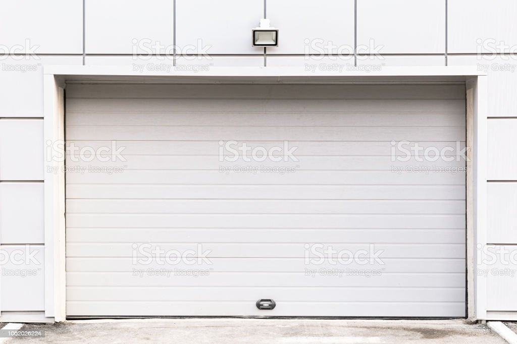 Automatic garage door. Entrance to a parking