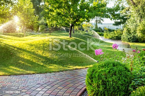 Automatic garden watering system with different sprinklers installed under turf. Landscape design with lawn hills and fruit garden irrigated with smart autonomous sprayers at sunset evening time.