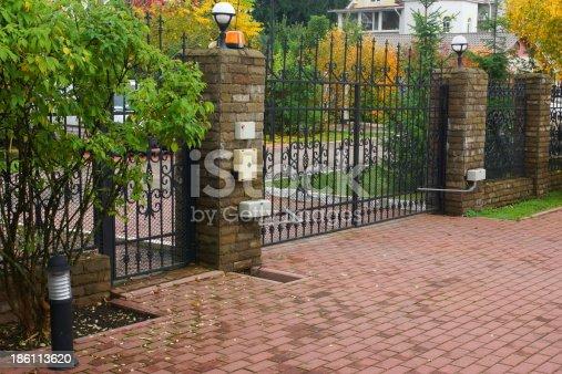 istock Automatic gate 186113620