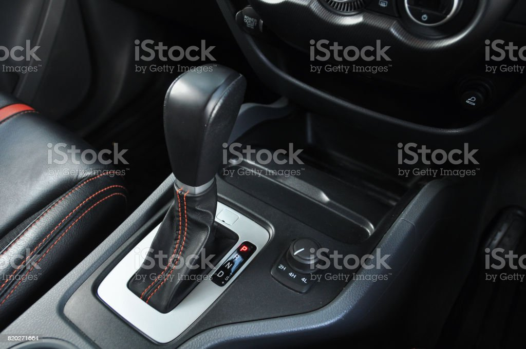 Automatic Gear Lever And Gear Shift Stock Photo - Download