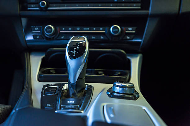 Automatic gear shift of a car stock photo