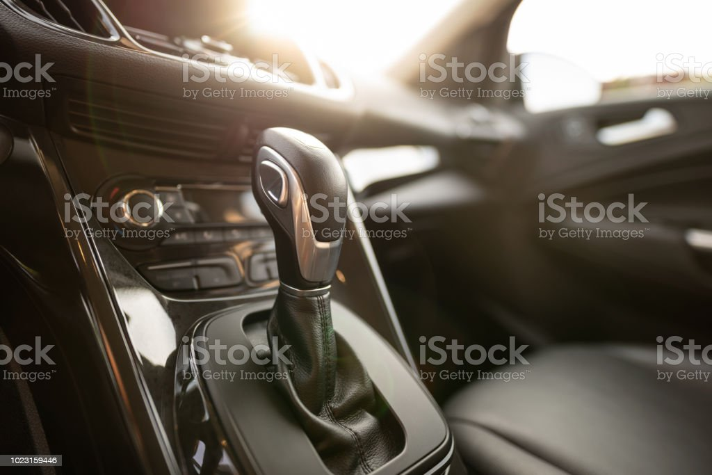 Automatic gear stick of a modern car stock photo