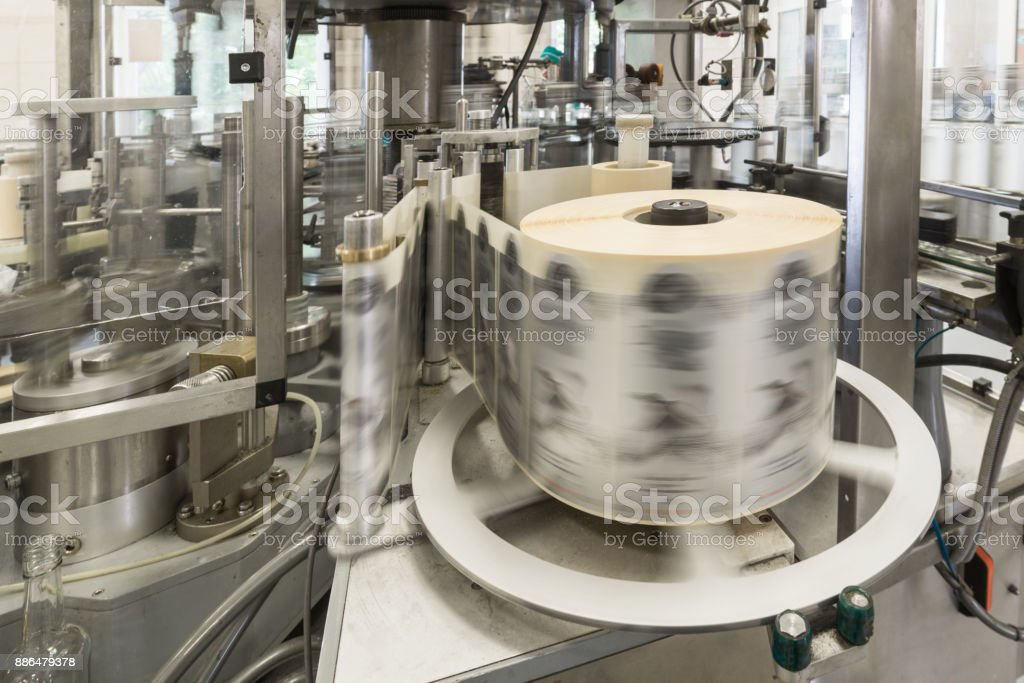 Automatic labeling machine during operation stock photo