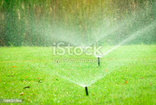 istock Automatic lawn sprinkler watering green grass. Sprinkler with automatic system. Garden irrigation system watering lawn. Water saving or water conservation from sprinkler system with adjustable head. 1093201854
