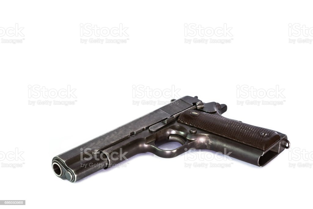 automatic pistol  weapon isolated on white background royalty-free stock photo