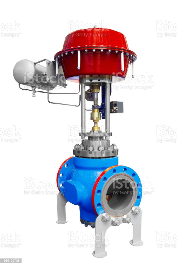 Automatische ferngesteuerte Kugelhahn mit Verriegelung für industrielle Gas- oder Öl-Pipeline mit hohem Druck isoliert auf weißem Hintergrund – Foto