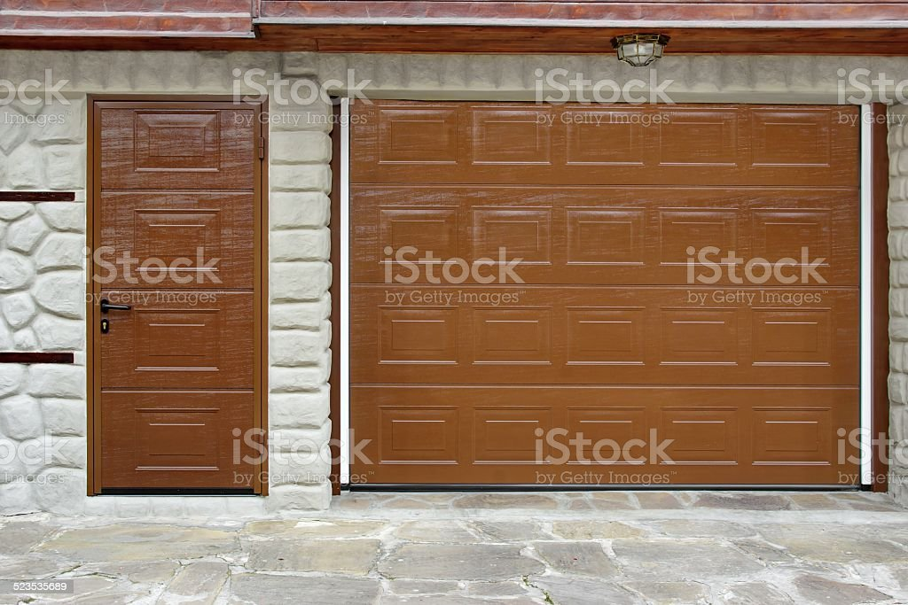 Automatic Roll-up Garage Gate and Door stock photo