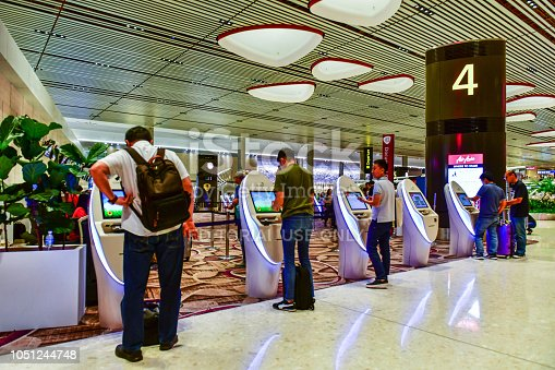 Automatic self check-in kiosk, Passengers can self check-in on this kiosks in Terminal 4 is a newly built passenger terminal building at Singapore