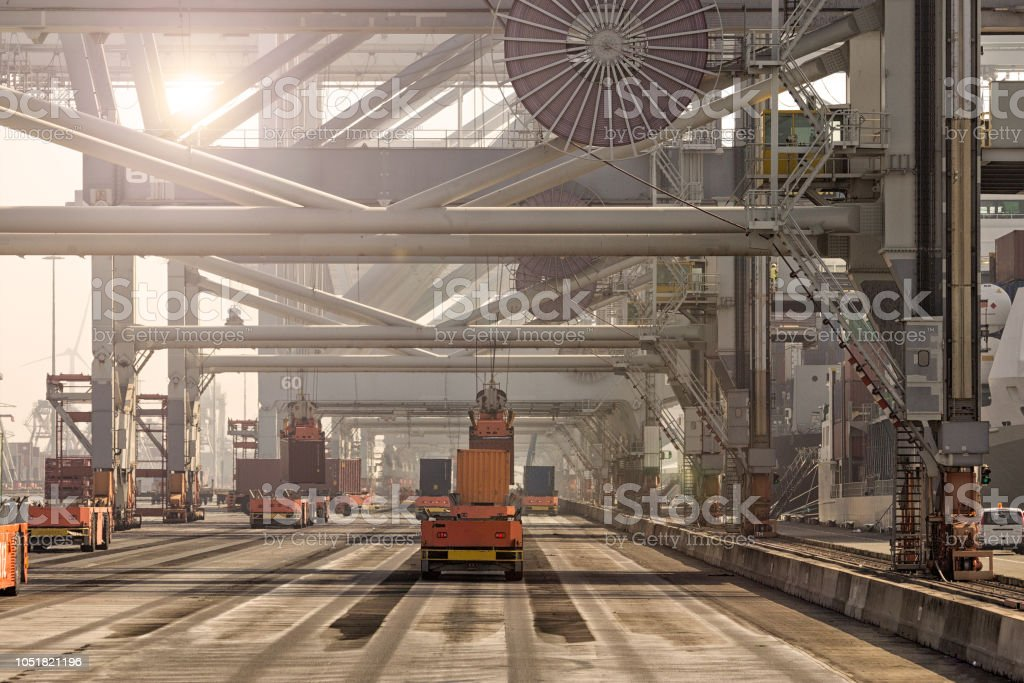 Automatic shipping container terminal port stock photo