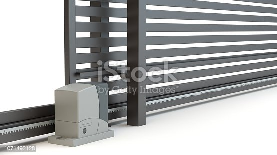 istock Automatic Sliding Gate and house, 3D illustration 1071492128