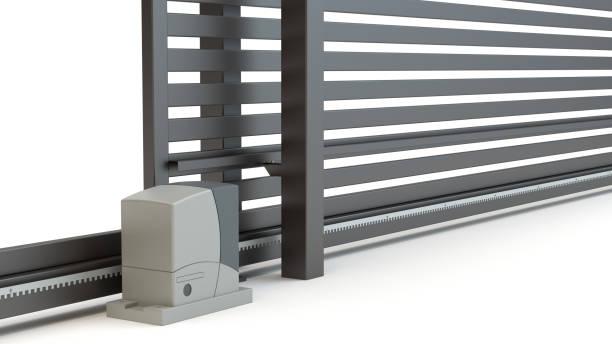 automatic sliding gate and house, 3d illustration - portão imagens e fotografias de stock