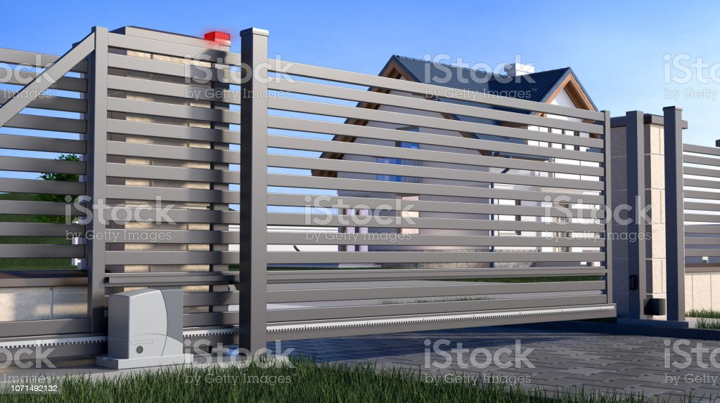 Automatic Sliding Gate and house stock photo