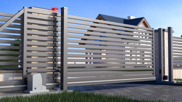Automatic Sliding Gate and house Gate and house 3D illustration automatic stock pictures, royalty-free photos & images