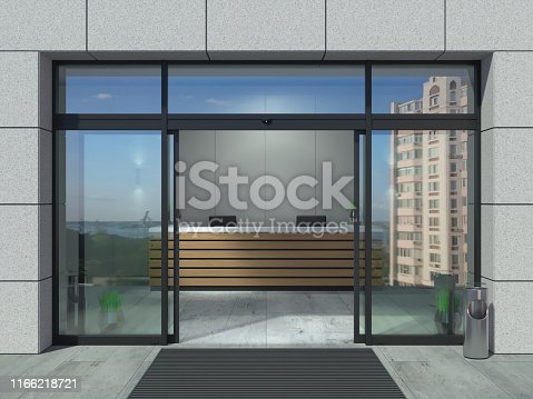 istock Automatic sliding open doors office 1166218721