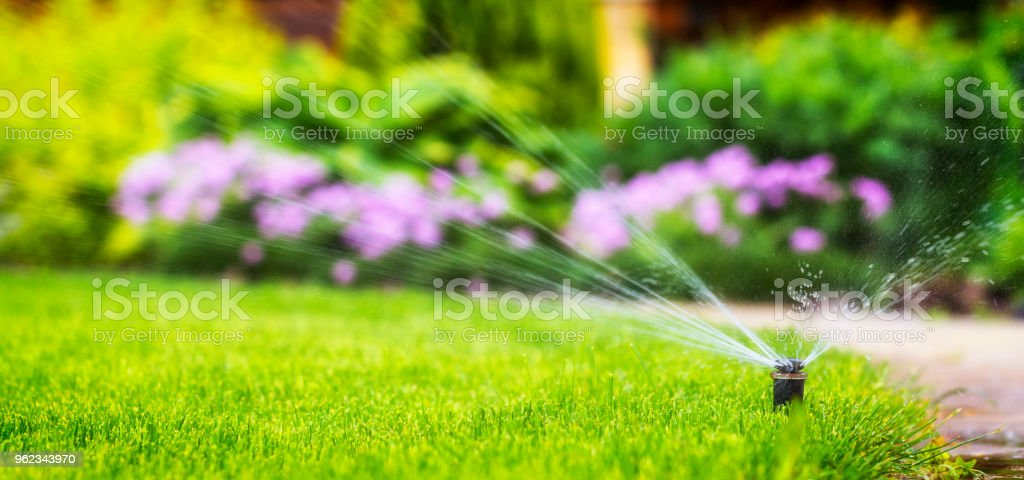 automatic sprinkler system watering the lawn royalty-free stock photo