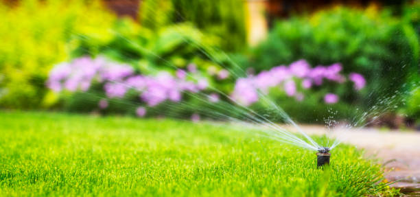 automatic sprinkler system watering the lawn automatic sprinkler system watering the lawn on a background of green grass, close-up irrigation equipment stock pictures, royalty-free photos & images