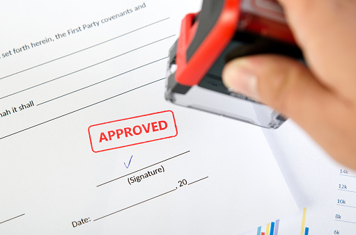 854317150 istock photo Automatic stamp on the contract document 856923552