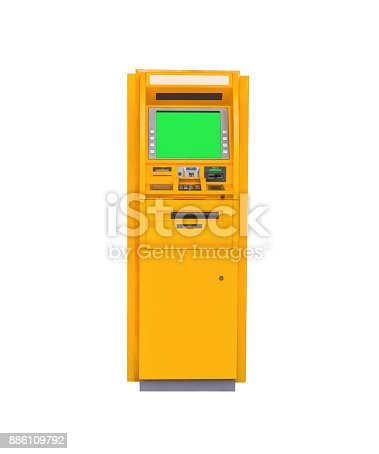 istock Automatic Teller Machine on isolated white background with clipping path. 886109792