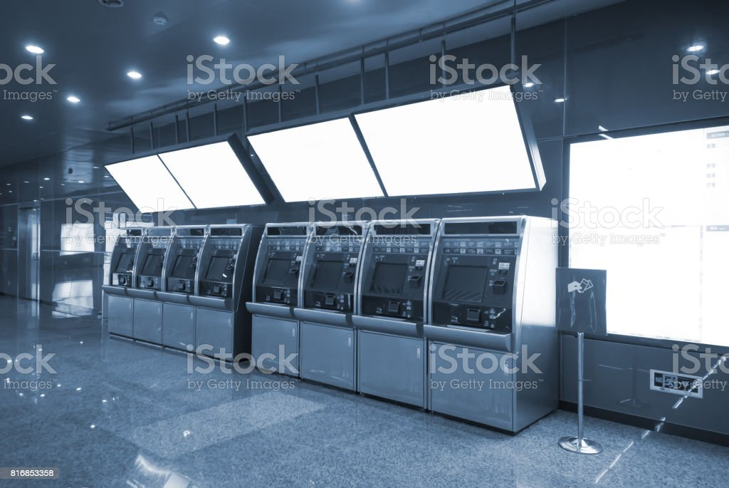 Automatic ticket machines at the subway station stock photo
