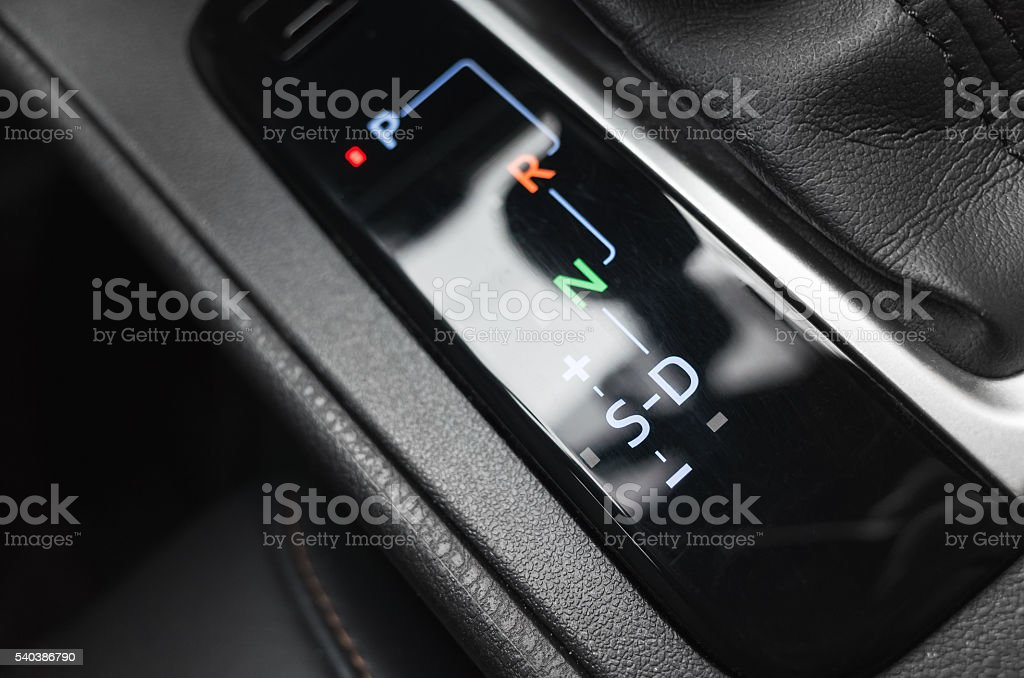 Automatic transmission, gear selector indication stock photo