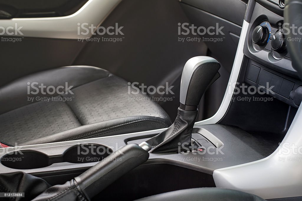 Automatic transmission gear shift. Car interior. stock photo