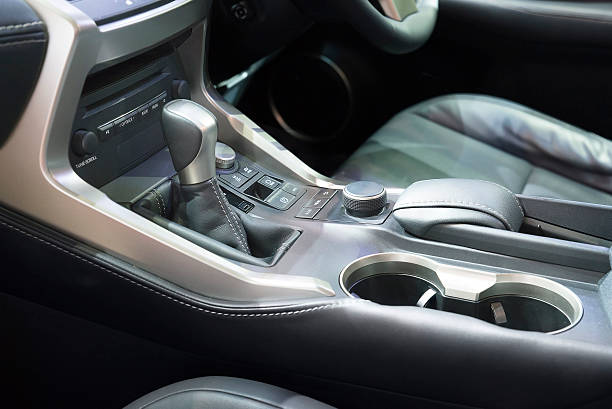 automatic transmission gear shift in car - container stock photos and pictures