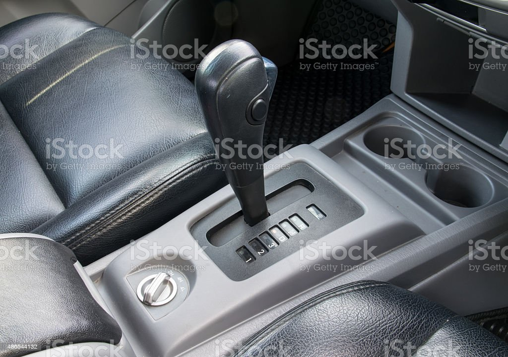 Automatic transmission gear shift. stock photo