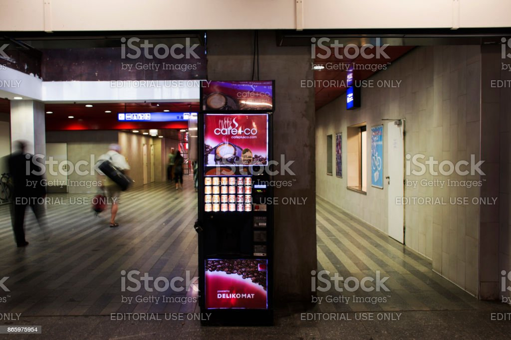 Automatic vending machine coffee and other hot drink stock photo