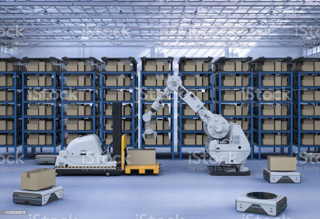 Automatic warehouse concept stock photo
