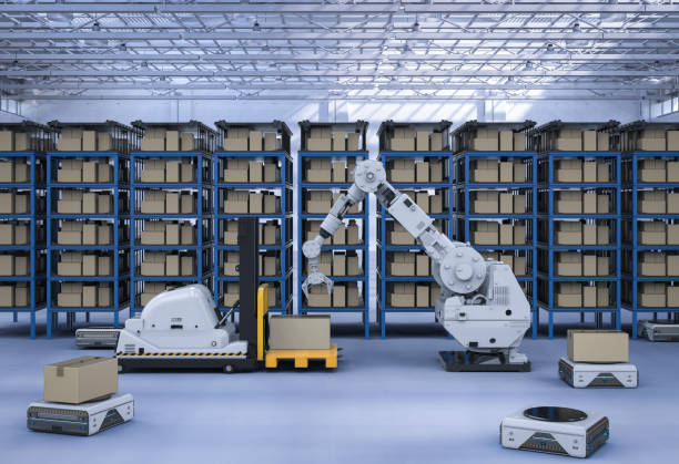 Automatic warehouse concept stock photo