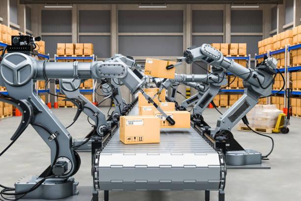 almacén automático con brazos robóticos, 3d rendering - robot fotografías e imágenes de stock