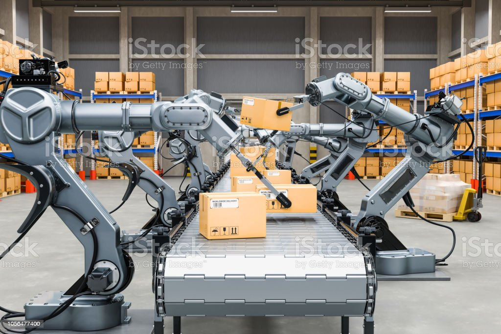 Automatic warehouse with robotic arms, 3D rendering stock photo