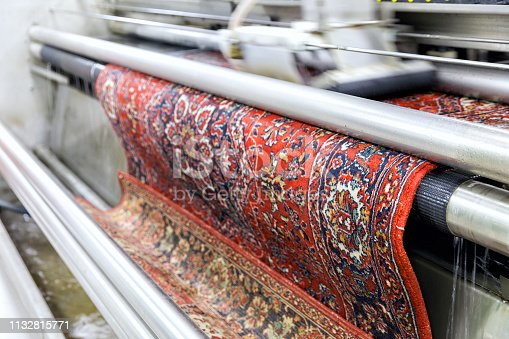 Automatic washing and cleaning of carpets. Industrial line for washing carpets