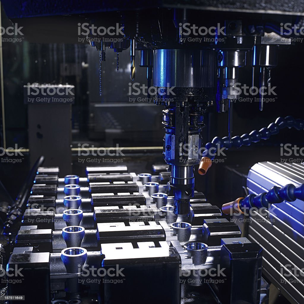 Automation cnc production of work tools stock photo