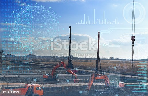1136415363 istock photo automation concept of the construction industry, construction work on drilling piles and earthwork without human intervention, the use of artificial intelligence and industry 4.0 1214068850